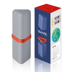 简约创意三角洗漱杯大容量便携牙杯带盖牙刷盒 简单实用的小礼品