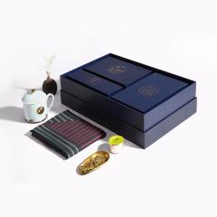 【丝路三绝】绅士版真丝长巾+晴鹤瓷杯+西湖龙井 创意商务礼品