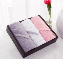 潔麗雅(Grace)清雅-3 色織格子柔軟吸水全棉毛巾 面巾2條方巾1條裝 節日禮品定制