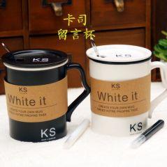 黑白卡司留言杯 手写陶瓷杯情侣杯 活动小礼品
