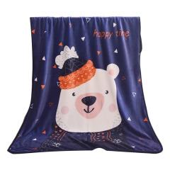 【帽子熊】动物图案法兰绒毛毯 平整走线小包边 暖心的小礼品 实用 奖品