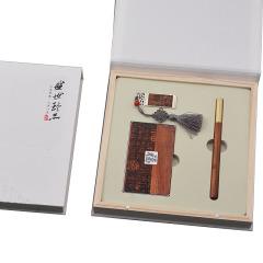 中国风味红木套装 红木笔+名片盒+臻品U盘 工艺礼品三件套 公司周年庆典购买什么礼物
