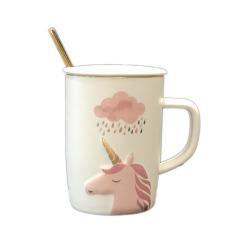 卡通独角兽陶瓷杯带盖勺浮雕图案马克杯办公水杯  促销小赠品