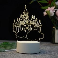 【天空之城】亞克力3D小夜燈 ABS環保底座 七種彩色燈隨意變換 展會創意小禮品