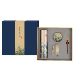 【千里江山】创意丝绸文创四件套礼盒 丝绸+书镇+书签+签字笔套装 创意个性礼品