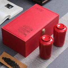 【山水間】創意陶瓷茶葉罐茶杯兩用紅盒紅杯套裝  商務茶具禮品