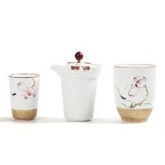 手绘艺术一壶二杯快客杯套装茶具礼品 茶具礼盒礼品定制