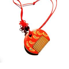 【孔雀羽毛】白象木梳子 手工彩绘小挂饰 精美礼盒
