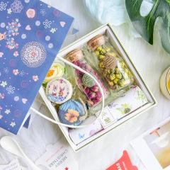 一鹿有你花茶蜂蜜礼盒 胎菊+重瓣红玫瑰+蜂蜜组合四件套 关怀答谢礼品