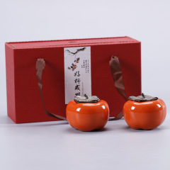 【好柿成雙】創意密封迷你柿子儲茶罐擺件  陶瓷禮品定制