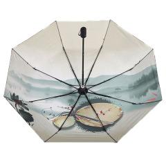 水墨伞 小黑胶伞 超强防晒防紫外线晴雨伞 银行维护客户的礼品
