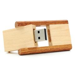 U盘定制 创意竹木U盘 环保立体小翻斗优盘 商务礼品有哪些 给客户礼品