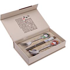 中国风脸谱餐具 叉勺筷套装 京剧人物餐具三件套