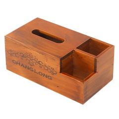 复古木质多功能纸巾盒 创意设计 桌面摆件