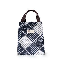【深蓝色几何】手提便当包 布料柔软结实耐用 防水防潮保温包 活动用小礼品