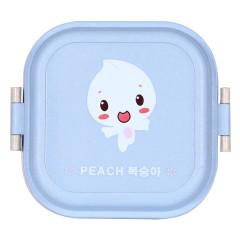 小麦秸杆方形卡通双层饭盒 保鲜便当盒--蓝色(8003)