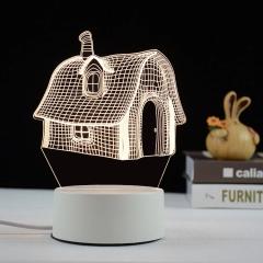 【小房子】亚克力3D小夜灯 ABS环保底座 七种彩色灯随意变换 家装购物节广告礼品