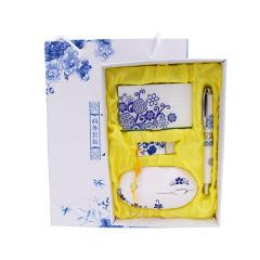 青花瓷 商务礼品套装 名片盒U盘鼠标笔礼盒 100元左右的实用奖品