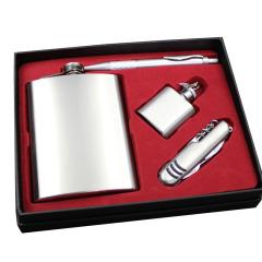 商务便捷 8盎司不锈钢酒壶套装 酒壶+笔礼盒 建材搞活动送什么赠品好