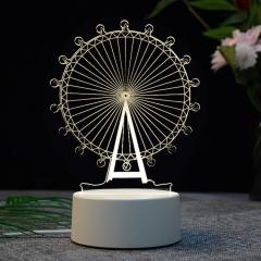 【摩天輪】亞克力3D小夜燈 ABS環保底座 七種彩色燈隨意變換 20元禮品建議