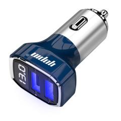 金属数显车载充电器双USB铝合金智能车充