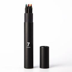 筒装黑木七色铅笔套装 彩色涂鸦画笔 创意文具