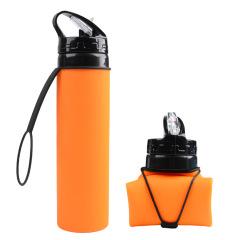 户外折叠杯子 600ML大容量硅胶伸缩运动水壶 户外运动产品