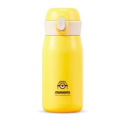 小黃人提手彈蓋杯保溫杯 一鍵開關彈跳杯350ML   公司活動禮品