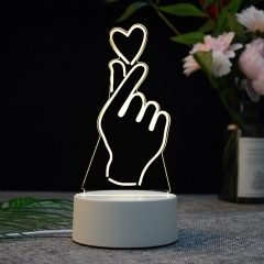 【比心】亚克力3D小夜灯 ABS环保底座 七种彩色灯随意变换 送给女性的小礼品
