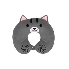 【灰猫U型枕】创意卡通动物毛绒棉午休枕 舒适午睡枕 便携旅行护颈枕 公司福利礼品