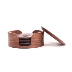 MUSOR 胡桃木实木隔热防烫杯垫杯托组合套装 适合做店铺活动的礼品