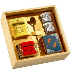创意型锦鲤伴手礼盒 蜂蜜+饼干+伯爵茶 好看有创意的赠品