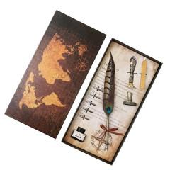 歐式復古錦雞毛鋼筆套裝 火漆蠟美工筆尖裝 創意商務禮品