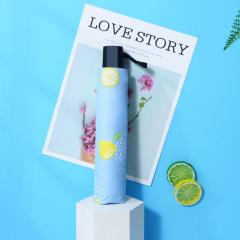 柠檬水果图案遮阳伞防晒折叠晴雨伞 市场推广小礼品