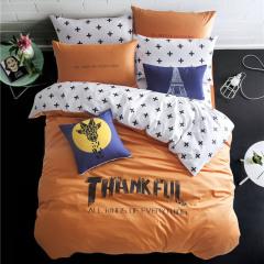 橙白撞色款被套纯棉欧美潮牌个性活性双人床上用品四件套  家居日用小礼品