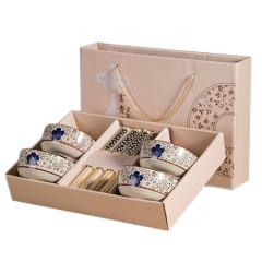 【日式和風】日式手繪陶瓷碗筷套裝八件套(四筷四碗)禮盒 商務饋贈禮品