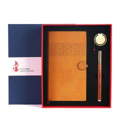【上善】中国风创意商务礼盒套装 记事本+红木笔+书扣三件套  公司入职满一年送什么礼物
