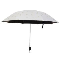 創意羽毛燙金傘 晴雨兩用三折傘 黑膠防嗮傘 旅行外出禮品
