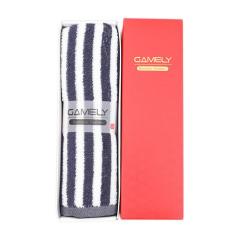 简约纯棉色织毛巾 无印风条纹长绒棉毛巾礼盒(单条装)送给客户的礼品 地产商礼品