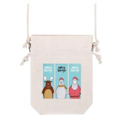 【米色】印花随身小帆布袋束口单肩包  迷你随身百搭百用 什么礼品小而实用