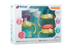 利其尔(Richell)儿童学饮杯套装鸭嘴杯吸管杯畅饮杯三种杯口套装 婴儿礼品送什么好