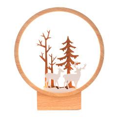 【一鹿有你】木雕床边原木色意境台灯 创意小夜灯 中秋节除了送月饼还能送什么