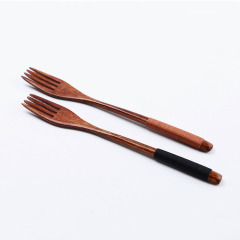 日式纏線長柄木叉子 環保木柄水果叉 定制小禮品