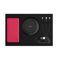 Recci无线充电礼盒套装 无线充电宝+一拖三数据线+移动电源 企业定制LOGO 会议礼品有什么
