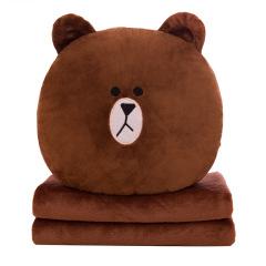 【布朗熊】卡通抱枕毯珊瑚绒 柔软面料多种用途 顺滑无静电 比赛礼品清单