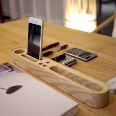 原创多功能实木桌面收纳器 木质办公桌面整理收纳盒 手机支架 办公小物收纳