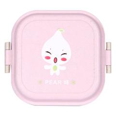 小麦秸杆方形卡通双层饭盒 保鲜便当盒--粉色(8003) 儿童节小学生的小礼品
