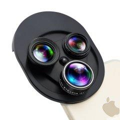 通用一体式可旋转手机镜头198°鱼眼 0.63x广角 微距 偏光镜四合一套装 精美潮礼