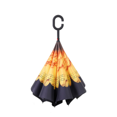 向日葵反向伞 创意第三代c型手柄双层免持式反向伞 长柄伞 艺术礼品定制