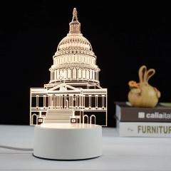 【白宮】亞克力3D小夜燈 ABS環保底座 七種彩色燈隨意變換 促銷禮品大全